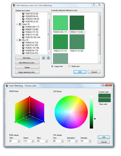 Colour matching can be used for segmentation and analysis of products operating in RGB and HSI